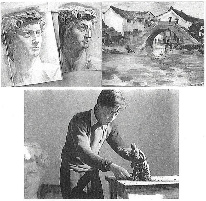 馬驍1958年附中にて油画、彫刻、デッサン