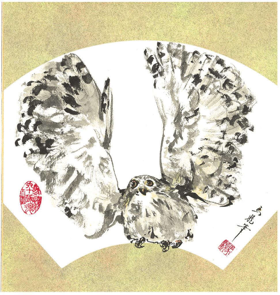 シロフクロウ(焦墨画法)
