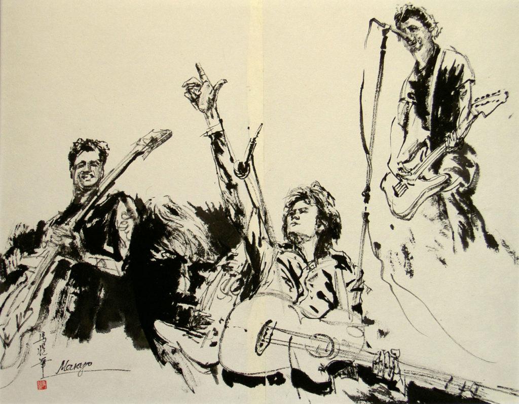 ロックバンド(焦墨画法)