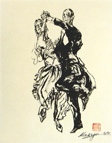 社交ダンス(焦墨画法)