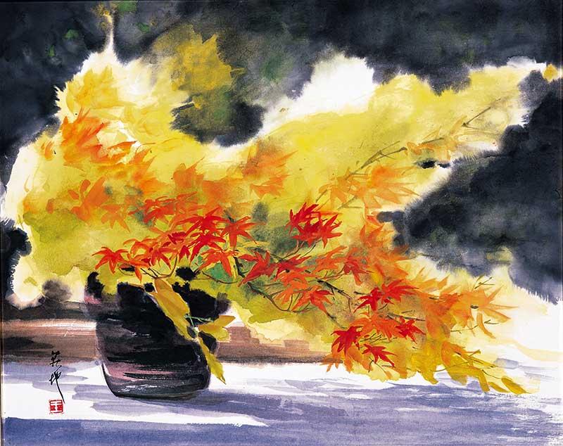 王荻地作品「錦秋」47×68cm