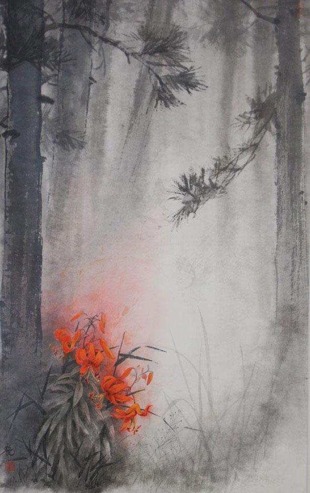 馬艶「赤い精霊」96×60cm
