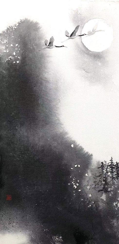 馬艶「帰鶴」 60x30cm