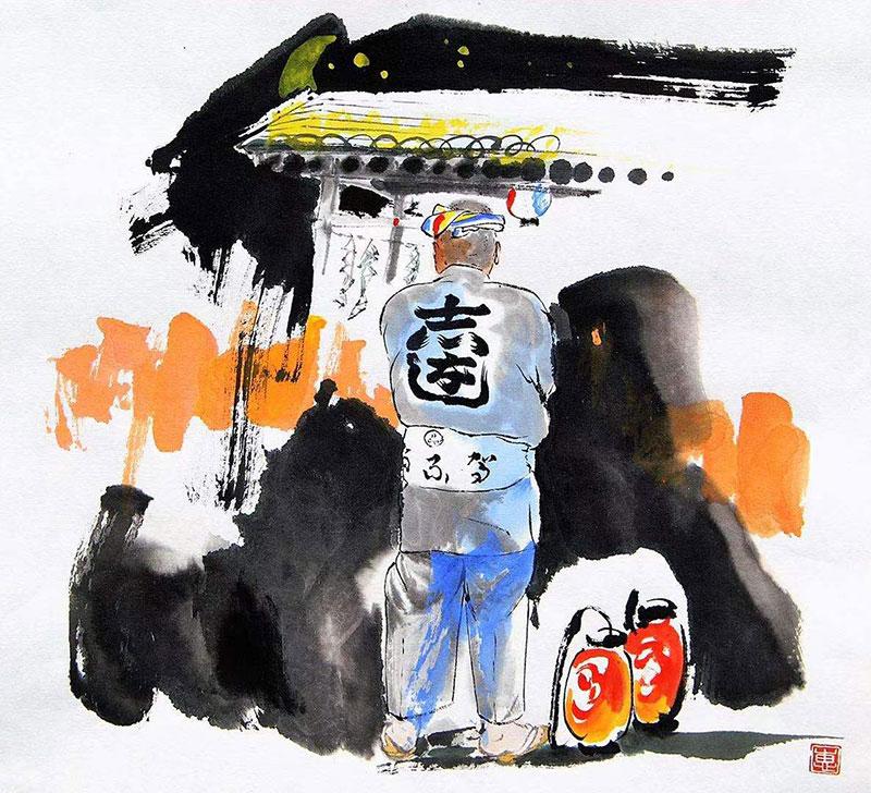 馬艶「祭り男」32.2x33.3cm