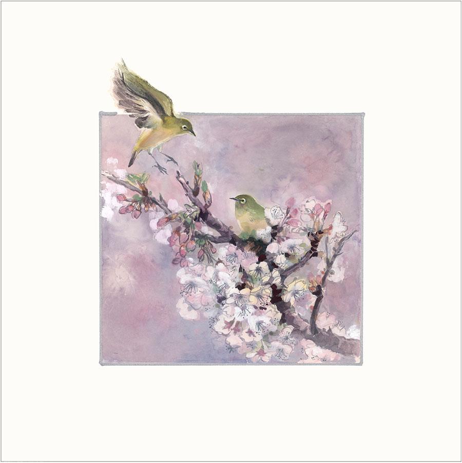 王荻地「メジロと桜」(No.WJ00006)