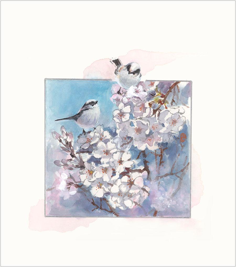 王荻地「エナガと桜」(No.WJ00007)