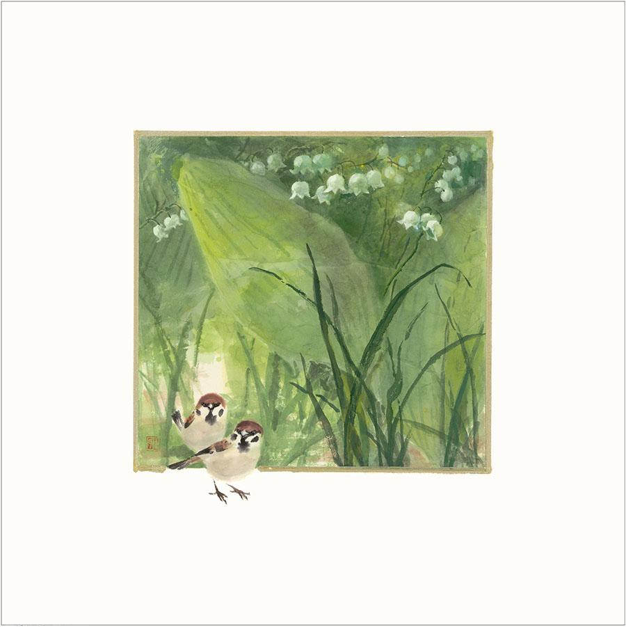王荻地「雀とスズラン」(No.WJ000010)