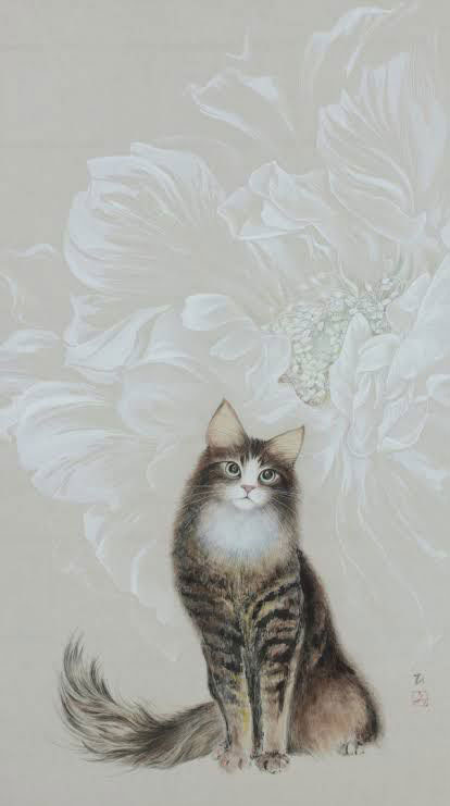 三浦ひろみ_猫と花